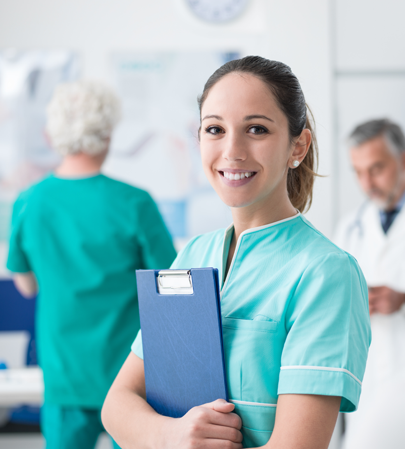 Nurse holding clipboard